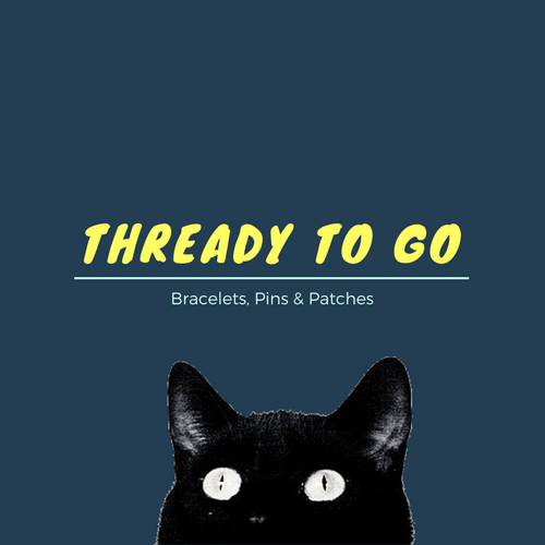"""Image of black cat peeking from bottom of blue background with text """"thready to go - bracelets, pins & patches"""""""