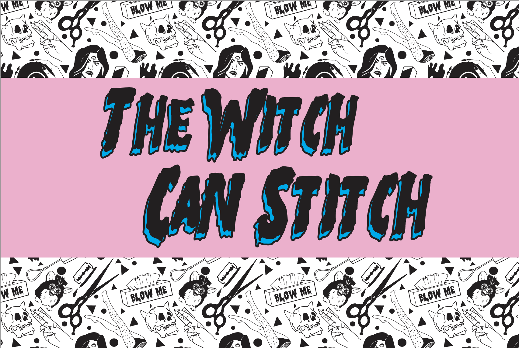"Image of black and white witch/goth style illustration background with pink stripe over middle with black text, ""The Witch Can Stitch"""