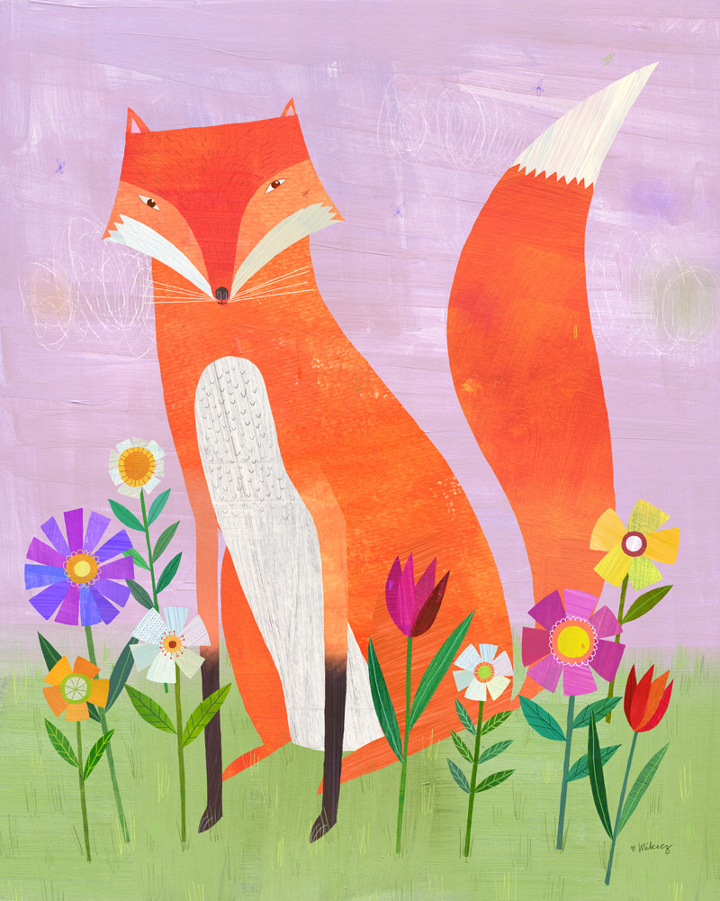 fox in flowers