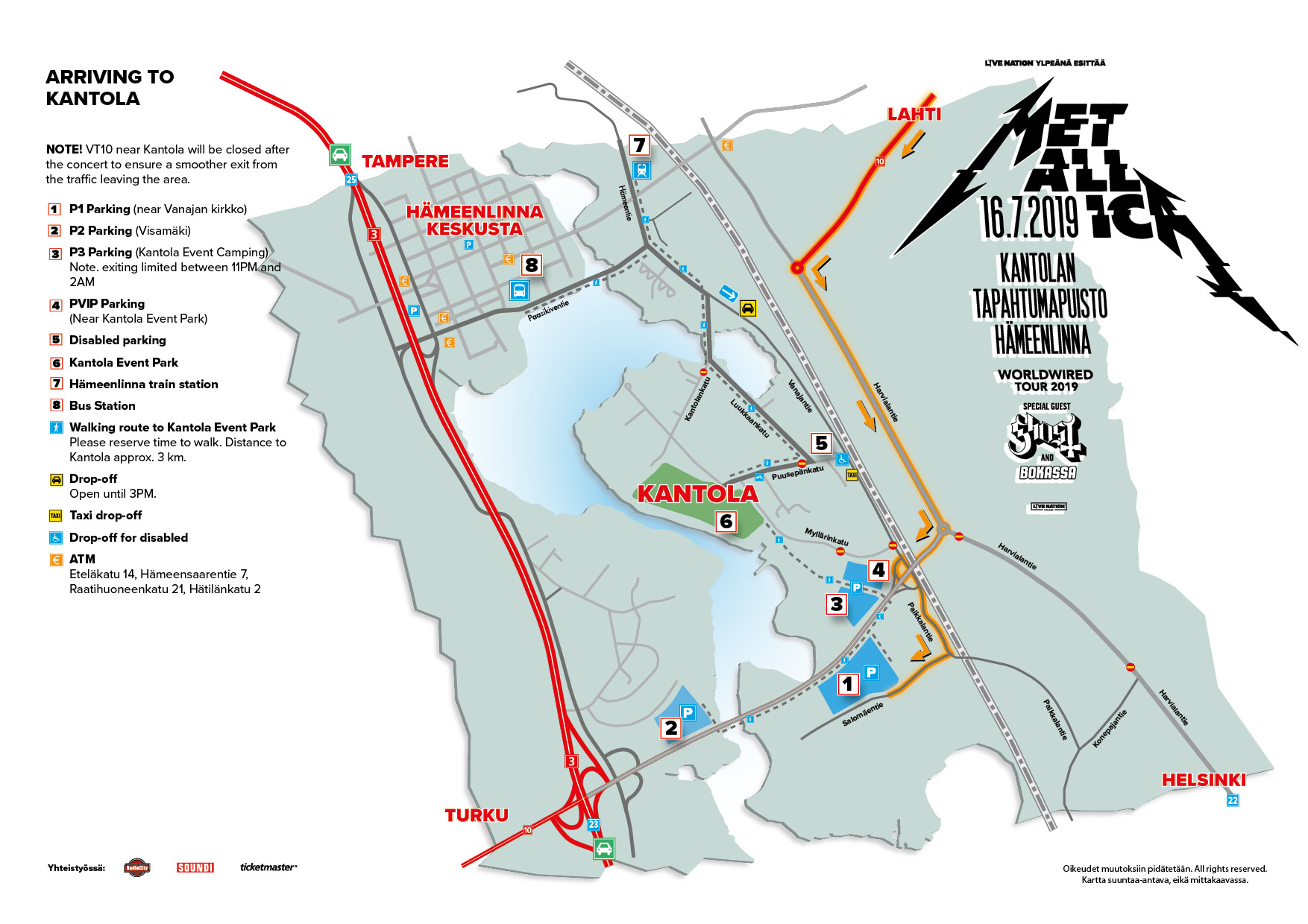 Accessible arrival to Kantola Event Park. Click on the map for a larger image! Map is approximate, all rights reserved.