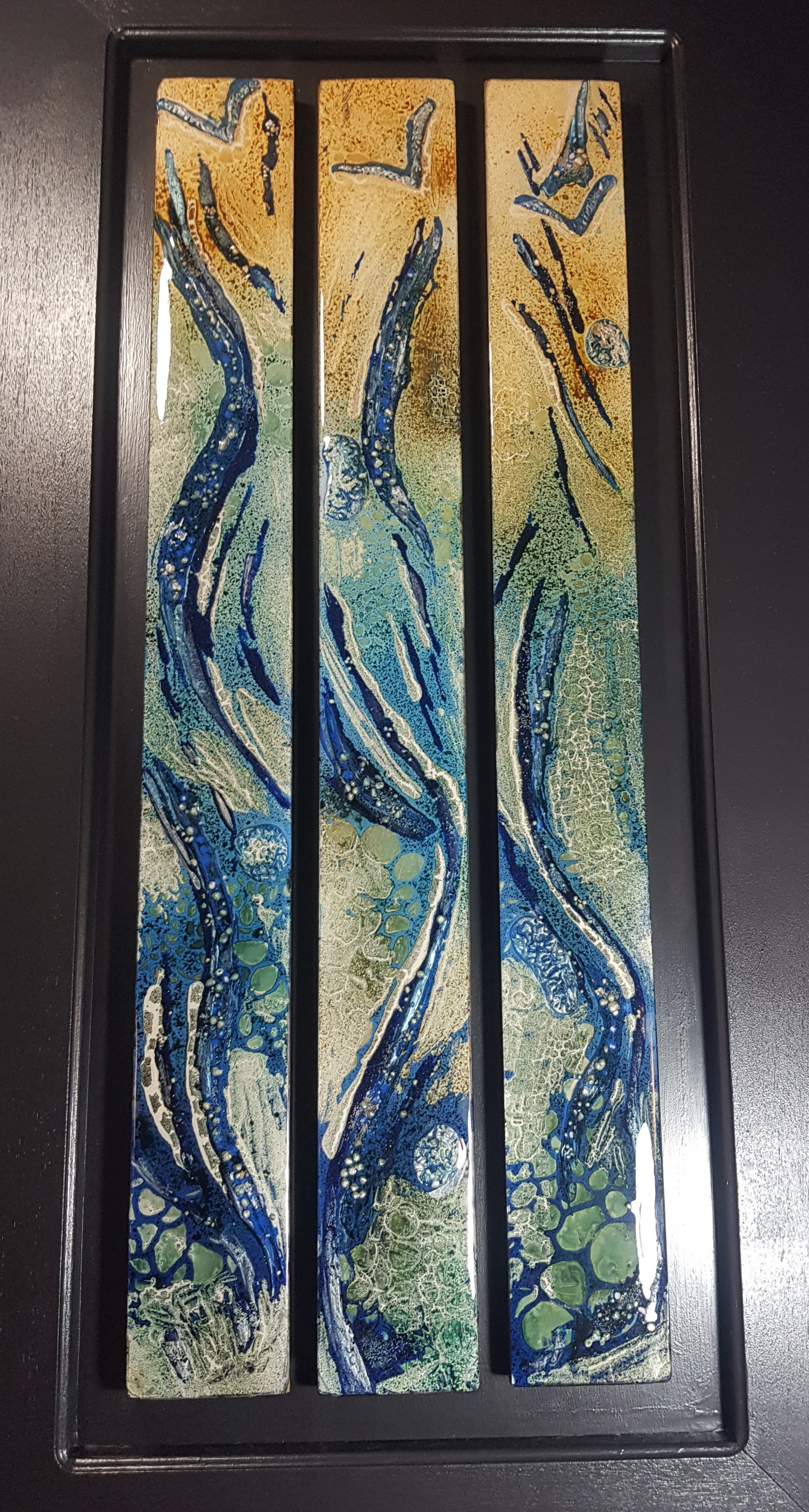 """Triptych Workshop using Powertex:31 August 2019 - Workshop: 9.30am to 4.30pm - Full Day Workshop: $165Come and enjoy a full day of Powertex products to make this beautiful piece. You will get to create this artwork on 3 separate pieces of wood.If you love to play with paint and mixed media, then this is for you.While at the workshop you will learn Painting Techniques with Powertex, get to use Bister & Easy3DFlex.This is a great class for Beginners and those more experienced will enjoy it just as much.All tuition, materials and tools provided.Bring your own lunch and snacks; biscuits and refreshments are available.Remember to wear clothing you do not mind getting dirty or bring your own apron.Click on """"Link to Bookings Page"""" , spaces are limited, or email me if you wish to do a Bank Transfer"""