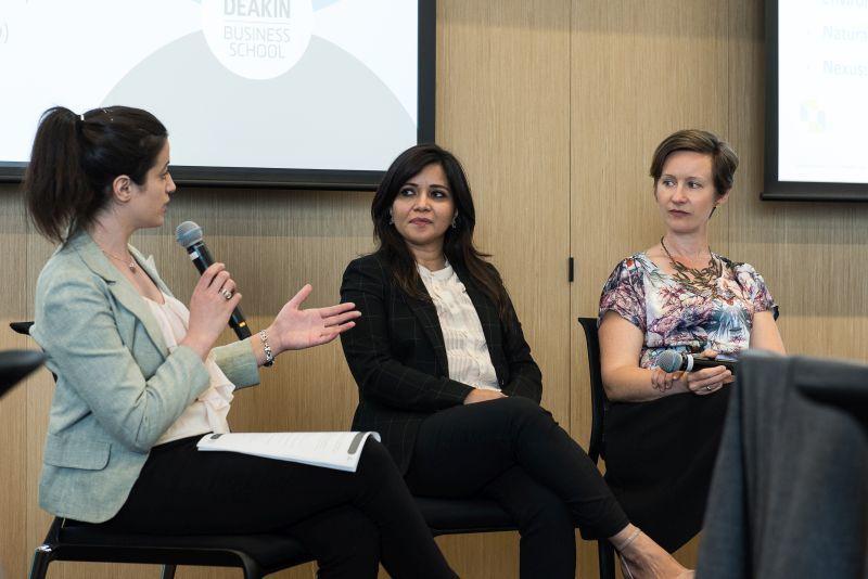Panel discussion led by Farah Beaini (left): Associate Professor Lubna Alam, Marilyne Crestias.