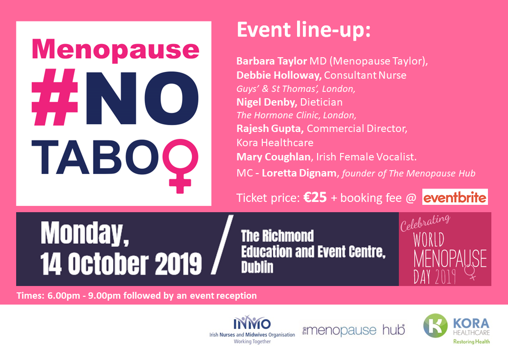 CELEBRATE WORLD MENOPAUSE DAY - Monday, 14th October 20196.00-9.15pm, followed by wine & canapésTo celebrate World Menopause Day, we are hosting an intimate evening event aimed at increasing awareness of menopause. #NoTaboo