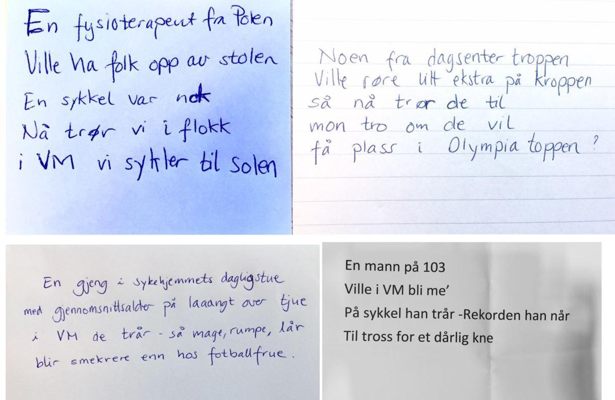 PRODUKSJONEN SÅ LANGT: Her er de fire første VM-limerickene til Bergljot.