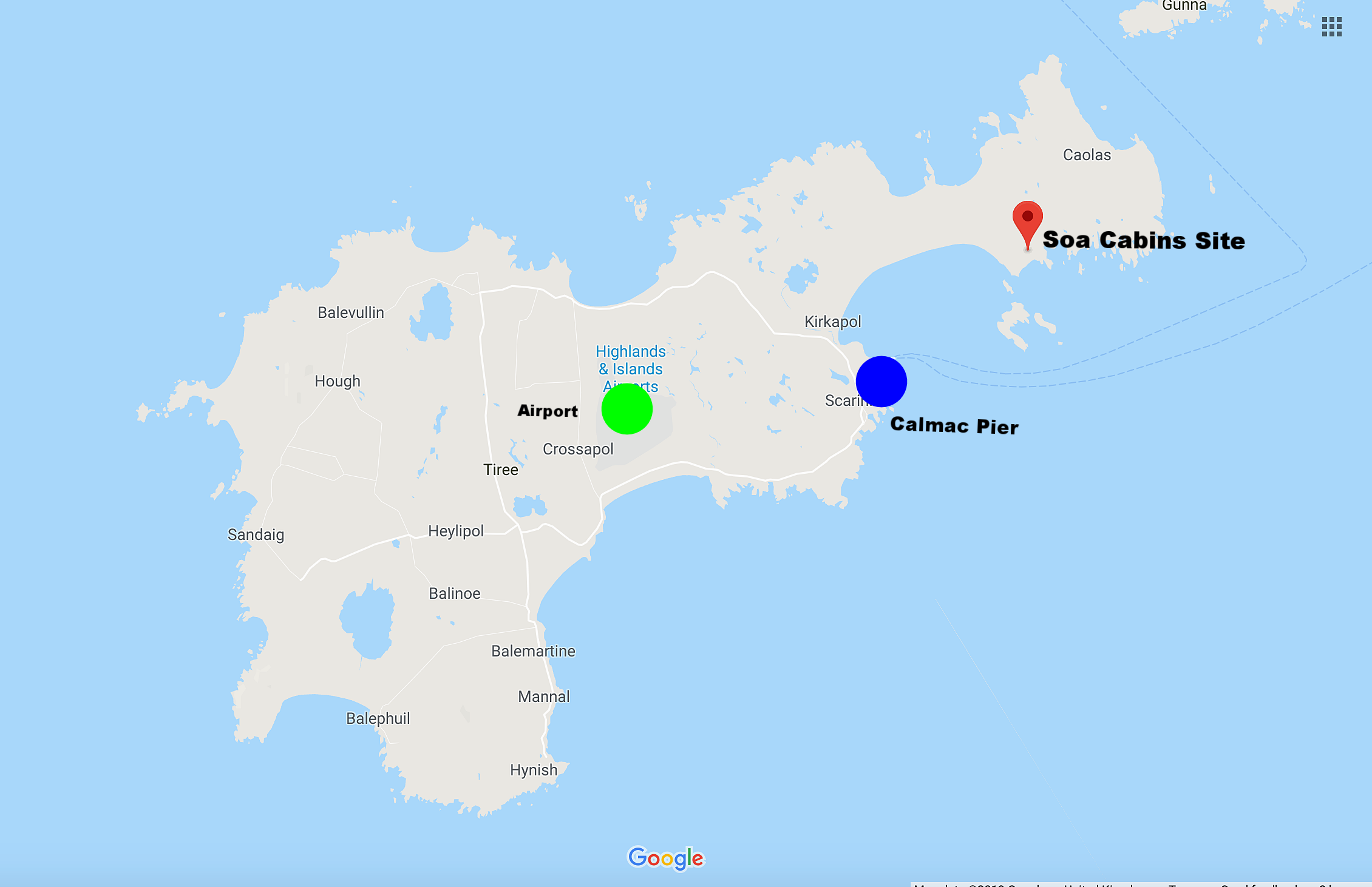 Map of Tiree showing Soa cabin site (Red Marker), Tiree Airport (Green) and Calmac Pier (Blue).