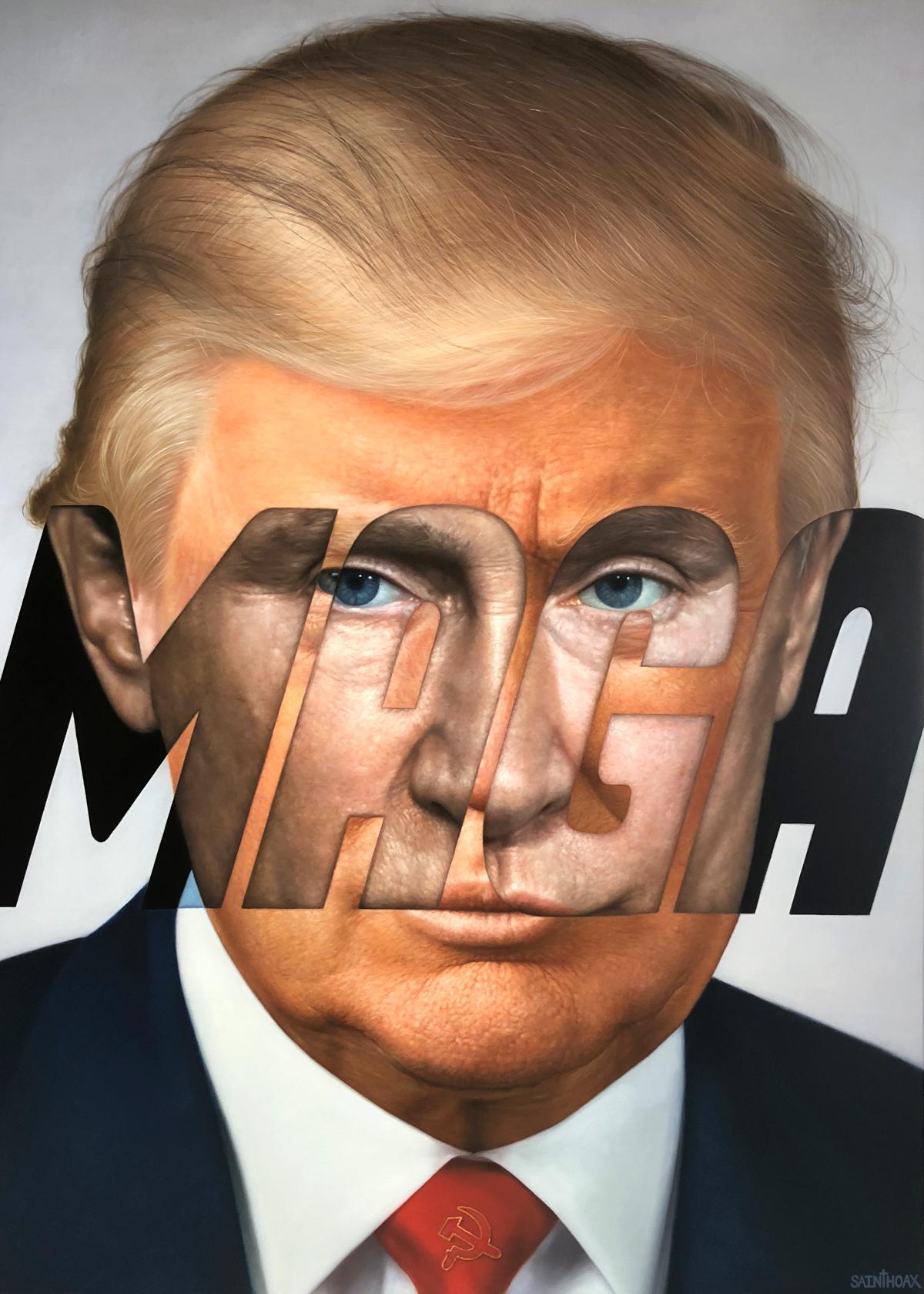 Trumputin - 2018Oil on canvas100 x 130 cm (39.3 x 51.1 in)$21,000