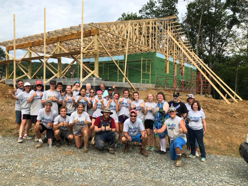 Media Presbyterian Church - Media Presbyterian Church has been volunteering with Avery Habitat for over a decade, and continues to come back year after year. In this photo, they had just finished putting all of the roof trusses up for the Galloway House - Build #48.
