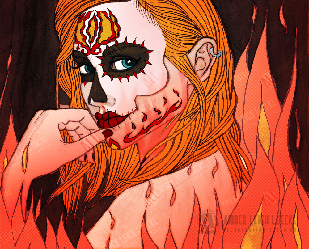 Pretty Woman with Day of the Dead Makeup Surrounded by Flames - Illustration