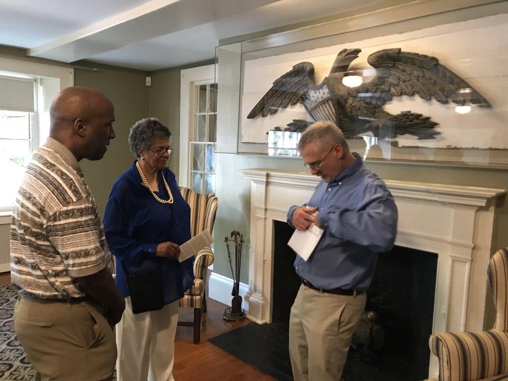 George Ford Jr. and Adelaide Solomon-Jordan, Remond descendants, with Dan Randall, Hamilton Hall president