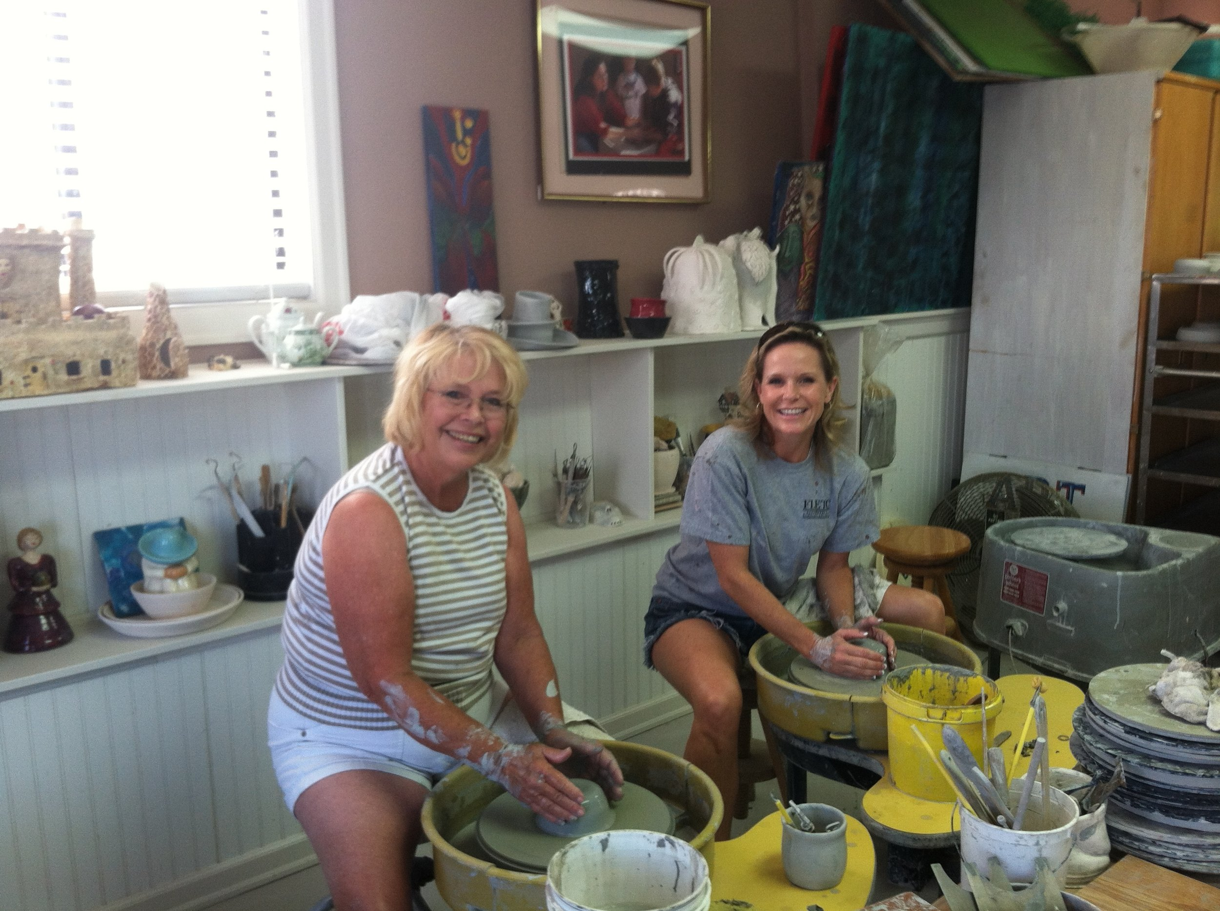 Making pottery with my mom