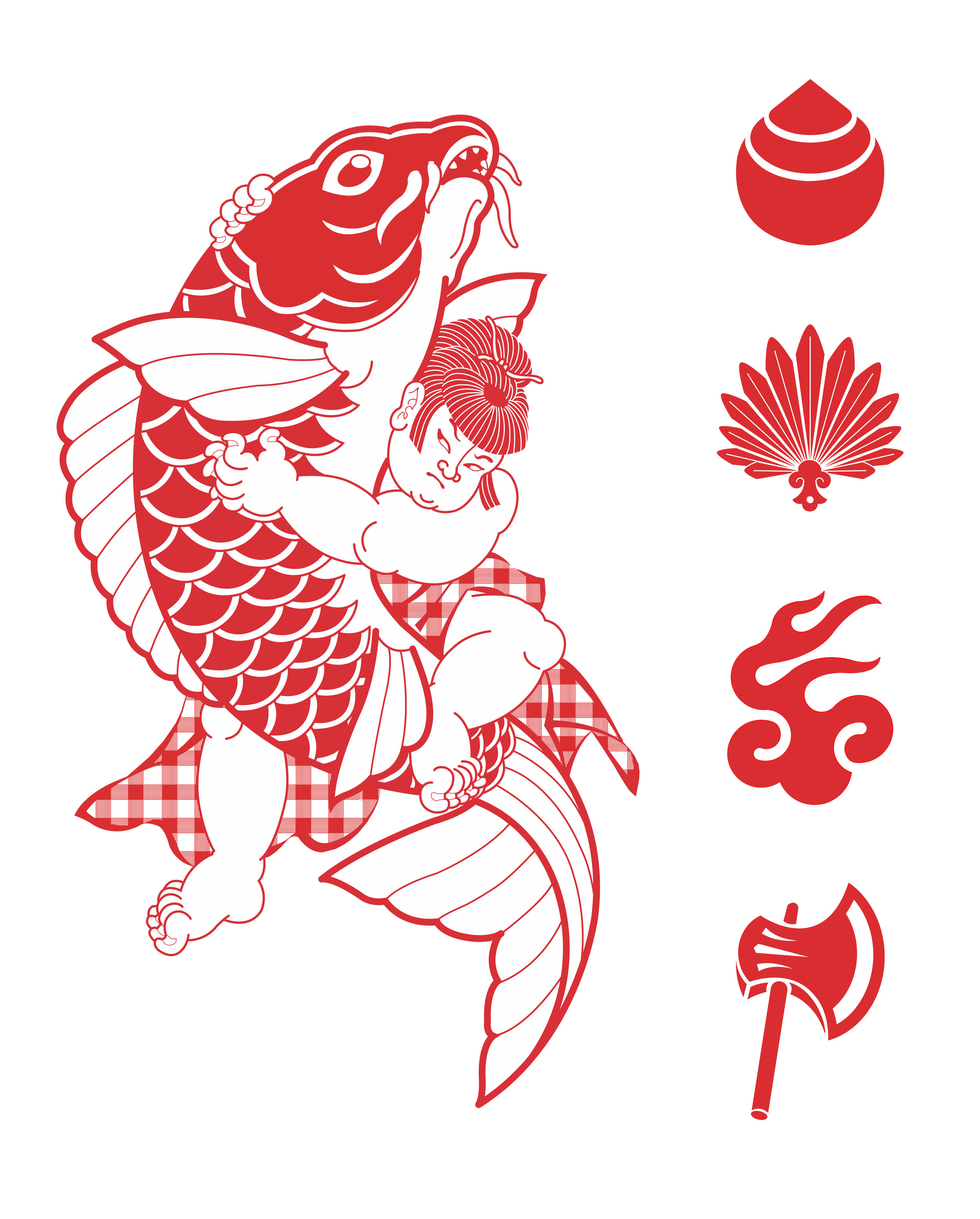 """Kintaro with Koi""  — Collaboration by Tyson Ward & Steph Laba"