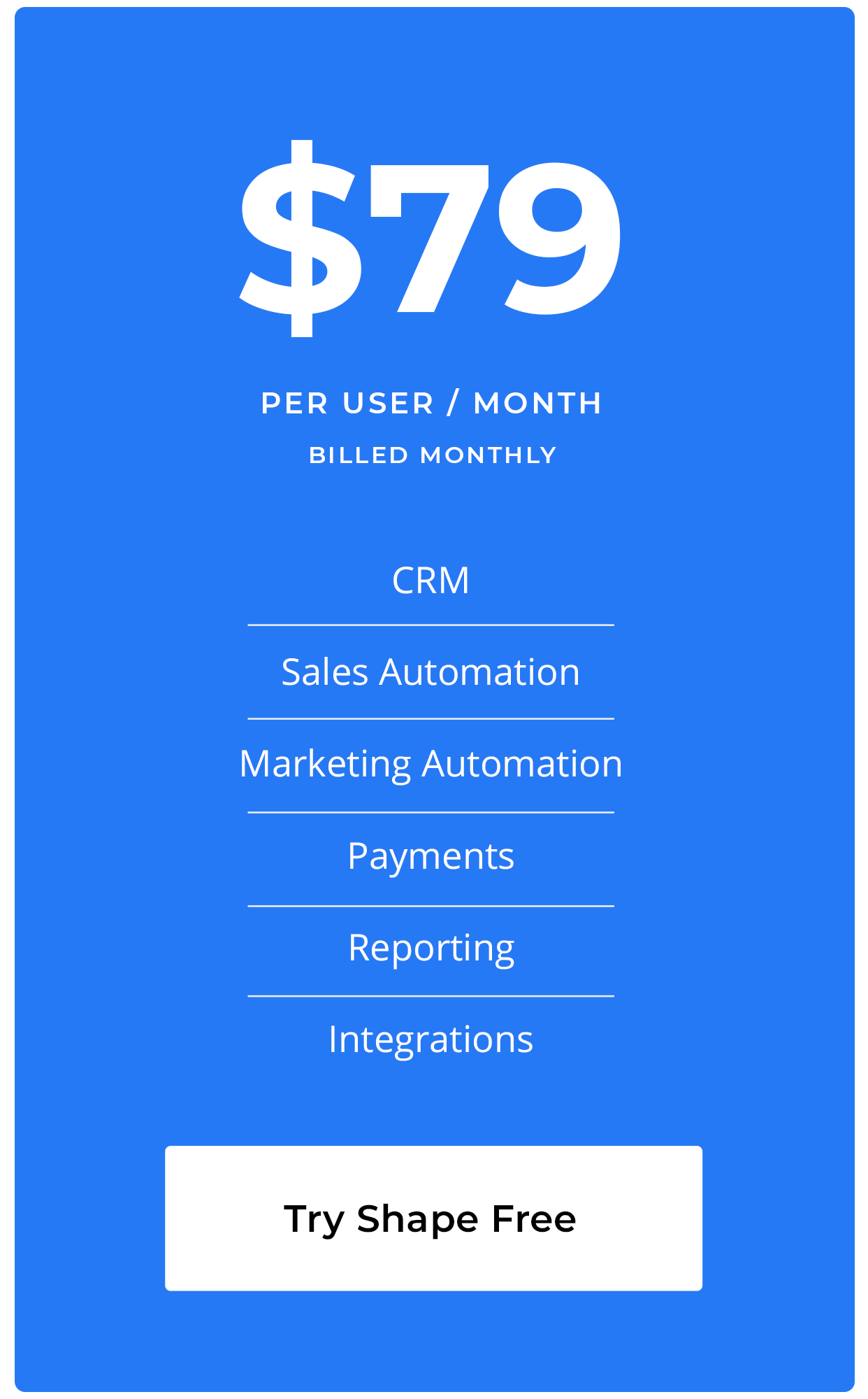 Shape Software Pricing