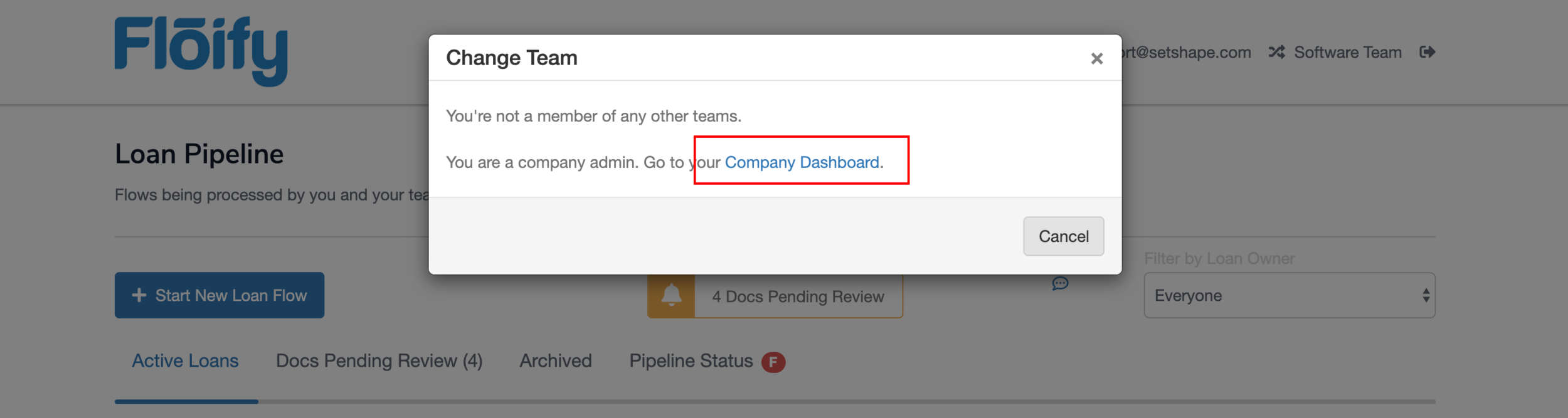 """Step 11:  After clicking Software Team, a """"Change Team"""" popup will appear. Click on """"Company Dashboard."""""""