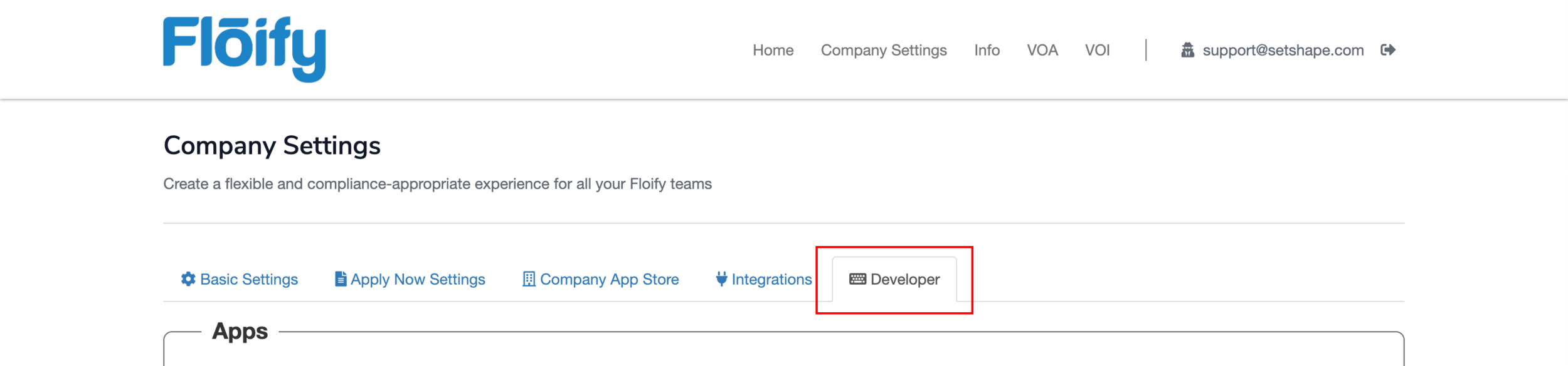 """Step 13:  In the Company Settings page, click on the """"Developer"""" tab."""