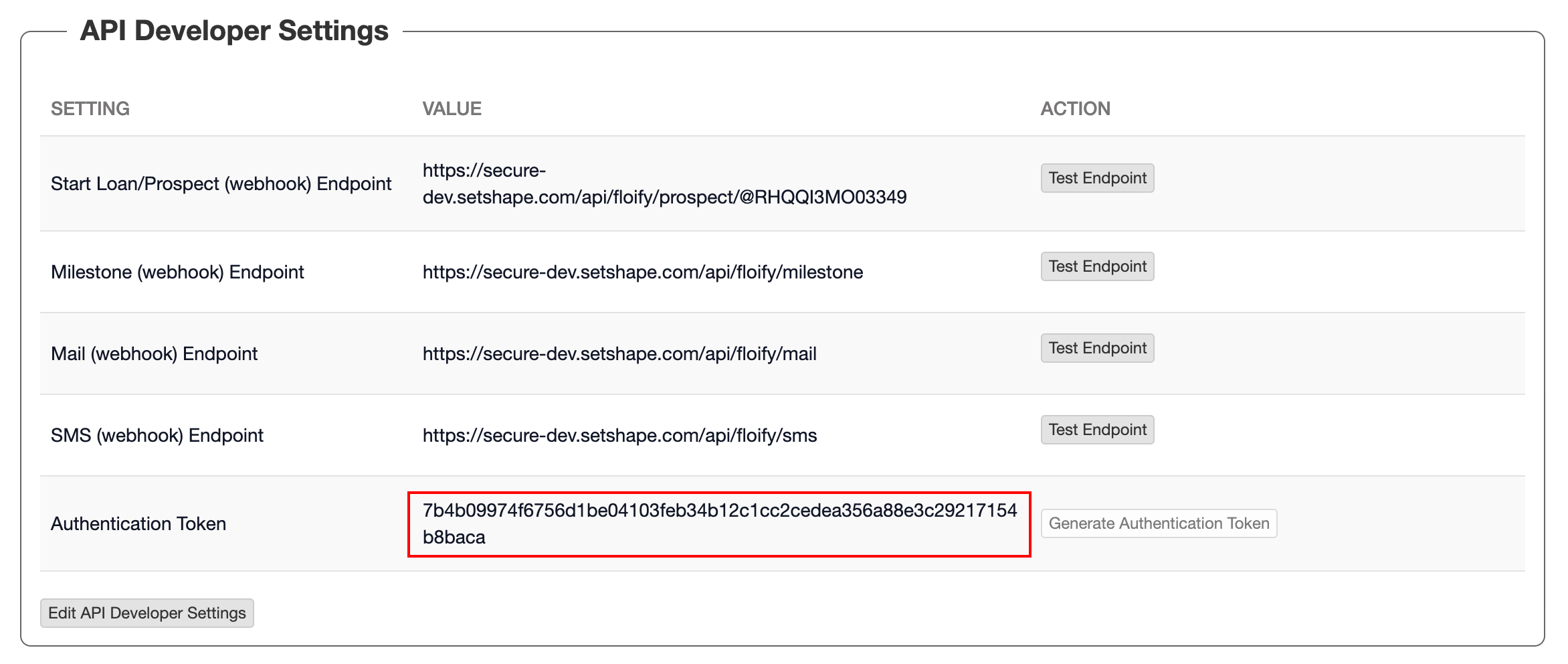 """Step 14:  Scroll down on this page to the """"API Developer Settings"""" section. There, you should find the Authentication Token. If there is no Authentication Token, generate an Authentication Token at this time."""