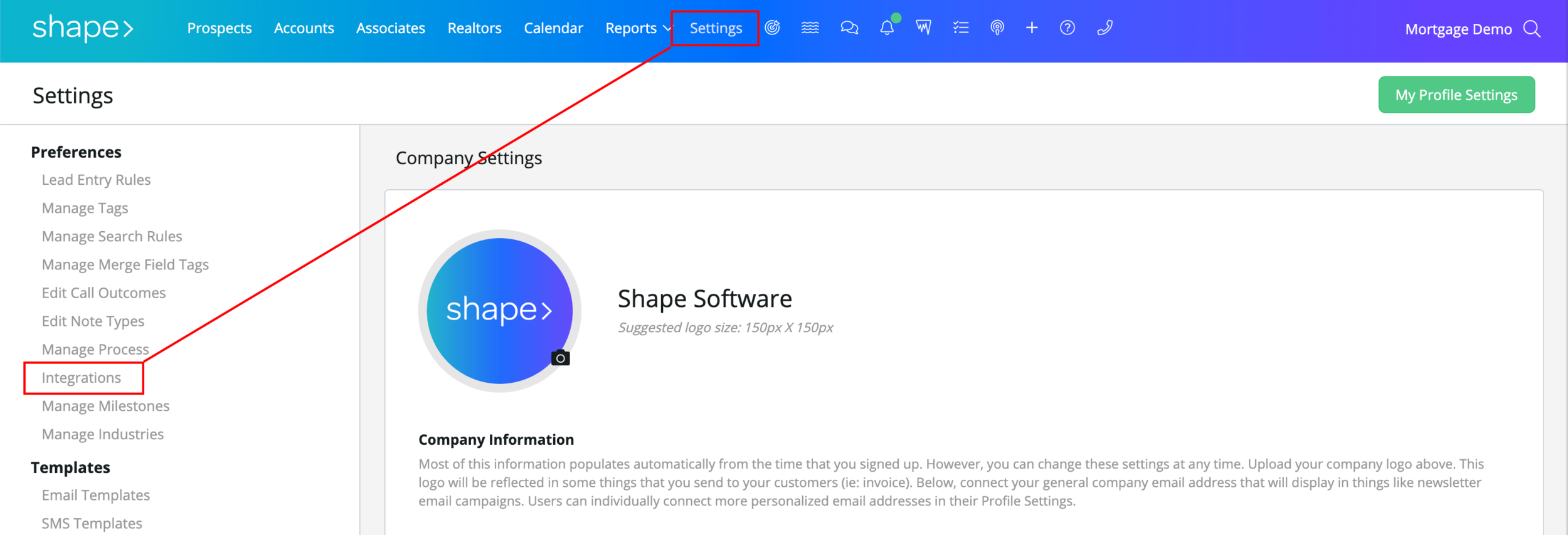 "Step 4:  Navigate to the ""Integrations"" page on the left hand sidebar. Or visit this link directly:  https://secure.setshape.com/integrations"