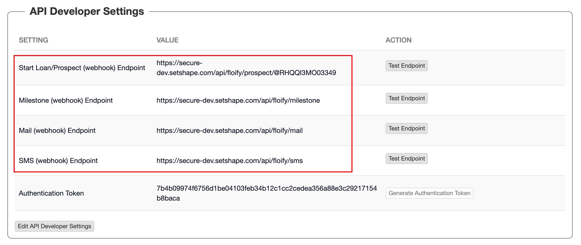 Step16:  Add/Edit the Floify Webhooks
