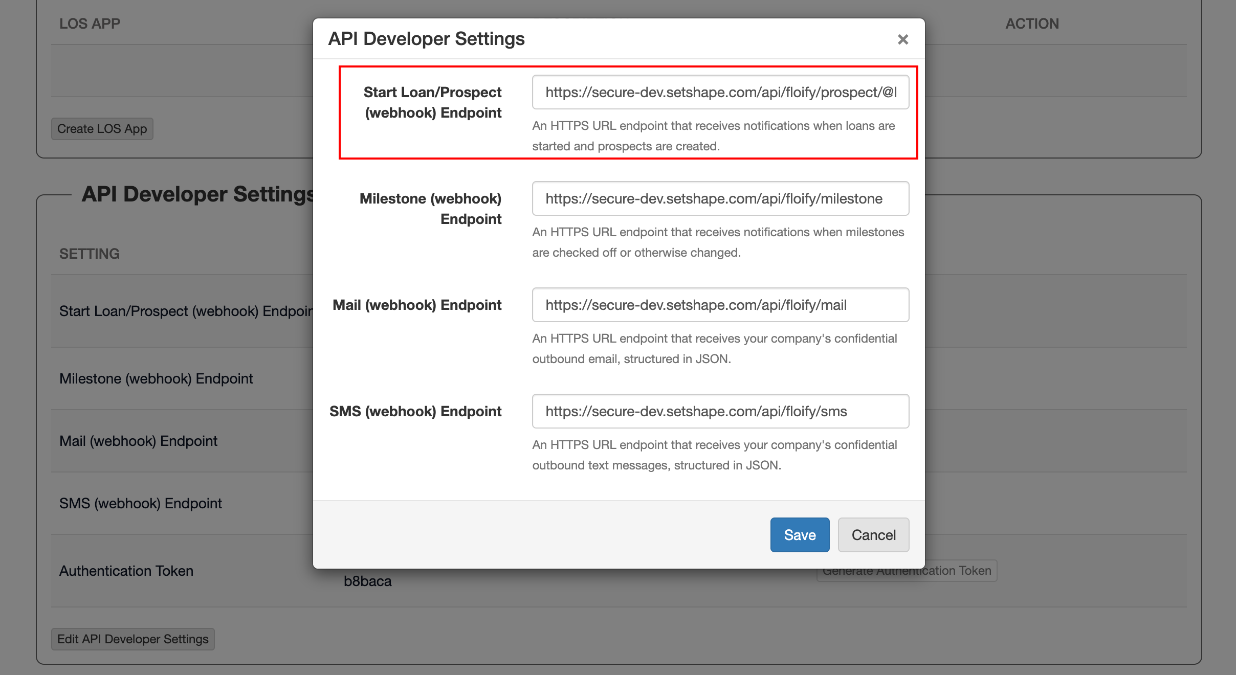 Step 18:  The top Start Loan/Prospect (webhook) Endpoint value is the only unique webhook value.  This value will be:  https://secure-dev.setshape.com/api/floify/prospect/   SourceID-created-in-shapemarketingsources   (See Step 4)    SourceID-created-in-shapemarketingsources   needs to be replaced with the Source ID (starting with the @ symbol and ending with the last alpha-numeric digit) found in Step 4 of this tutorial. Go back to the Shape Marketing Sources tab and copy the Source ID value and paste it after  https://secure-dev.setshape.com/api/floify/prospect/  for the  Start Loan/Prospect (webhook) Endpoint.