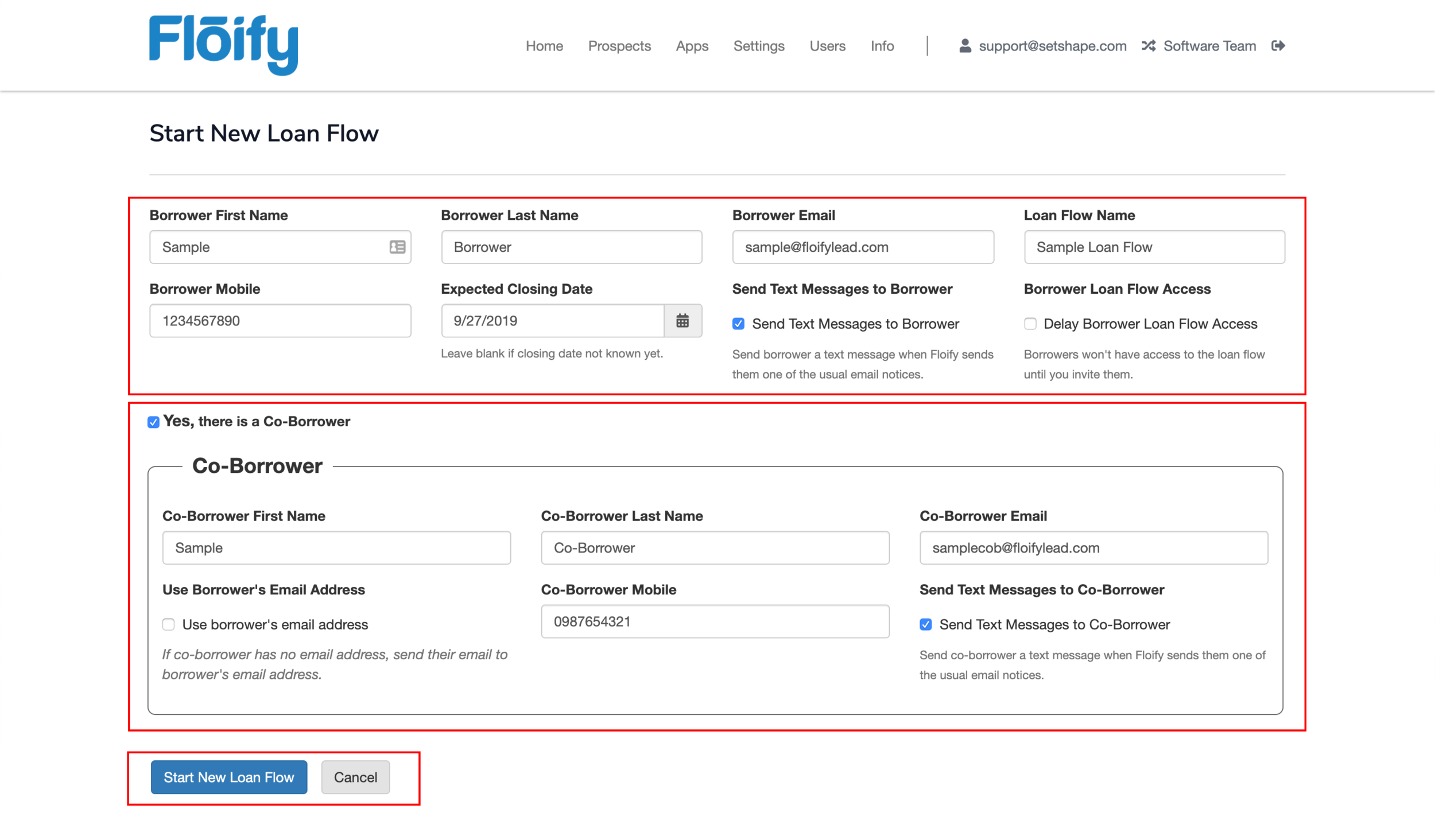 """Step 2:  Fill out the Borrower information and optional Co-Borrower and press """"Start New Loan Flow"""" at the bottom of the page.  Please note, screenshot is highlighting only the important elements of the new loan flow page."""