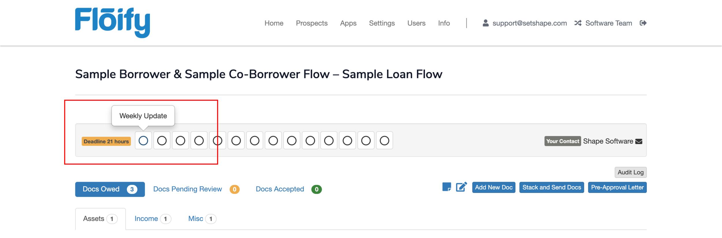 Step 6:  Click on a Floify Milestone.