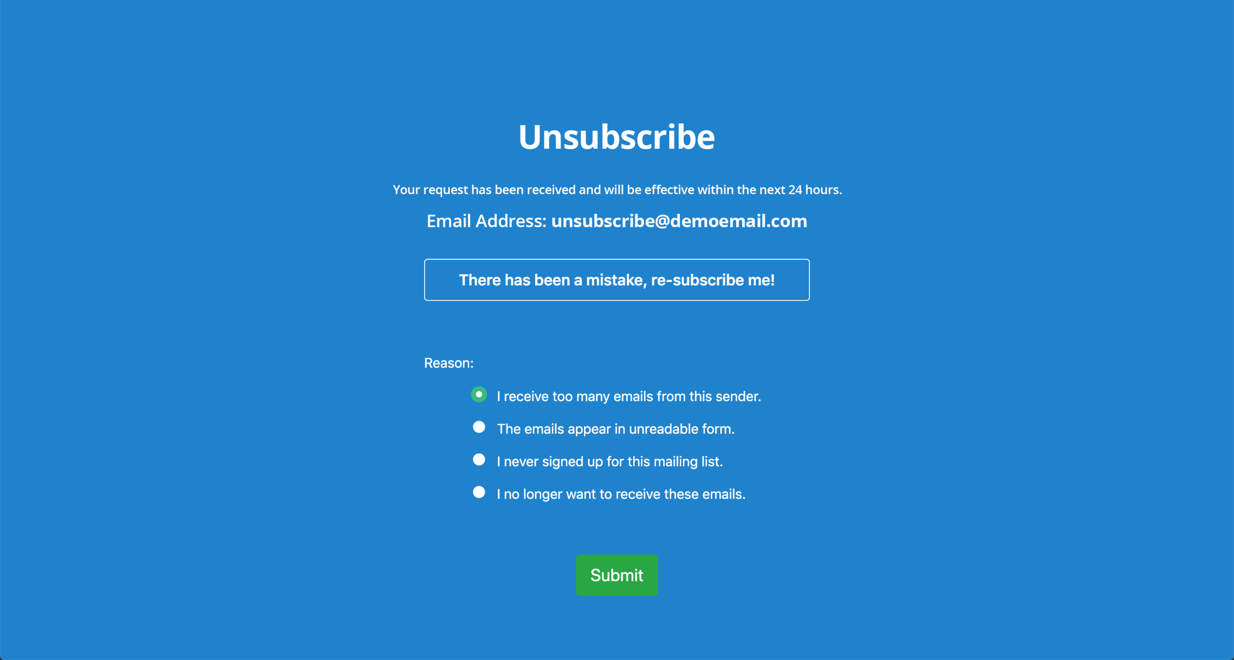 Email Unsubscribe Links:  Upon clicking the unsubscribe link, the record will be taken to this page to confirm their unsubscribe request.