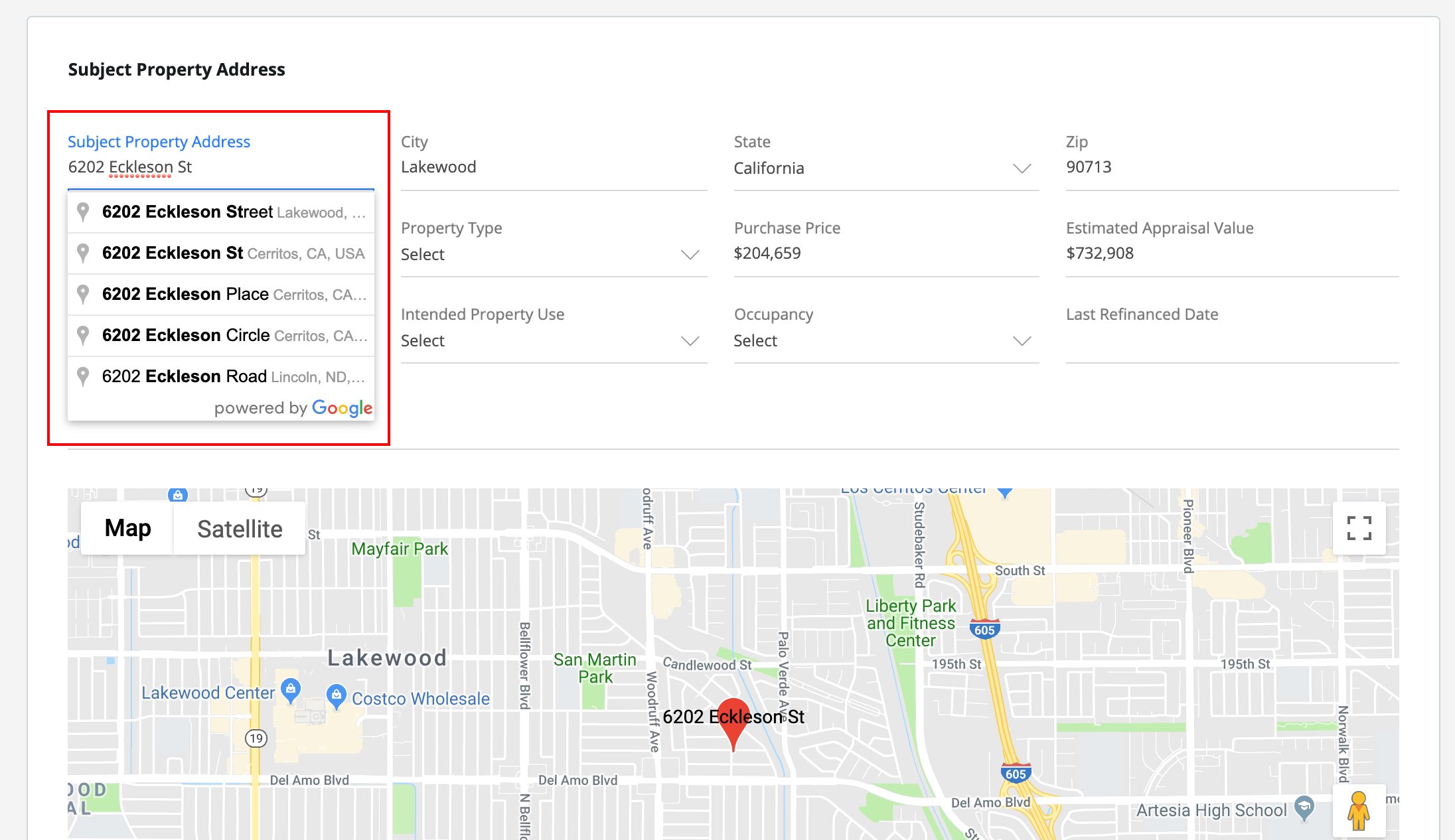 As you start typing in an address within Shape, Google will predict which address you are attempting to fill. If you select the address, the remaining fields will auto-fill according to Google Maps information, reducing manual entry.
