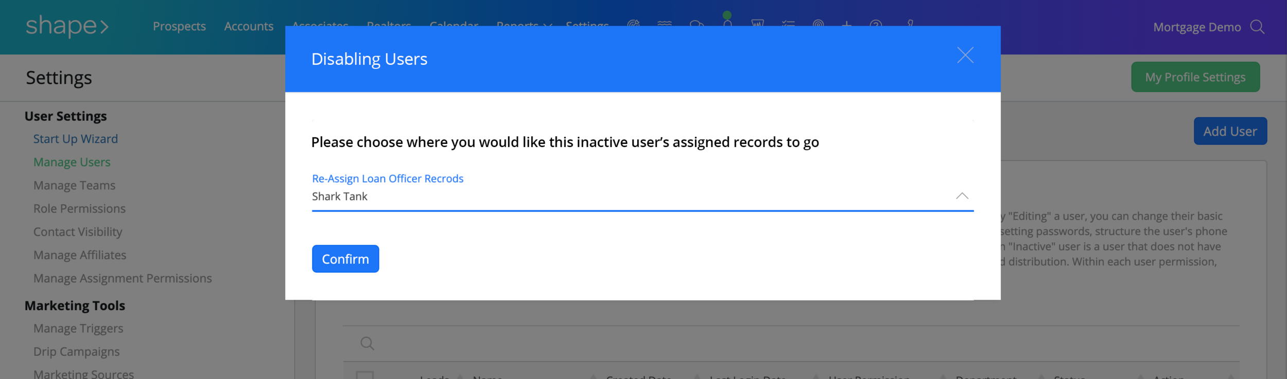 Re-Assigning Records:  When you delete or disable a user, you will then have the ability to decide where to re-assign the disabled user's orphaned events, tasks, users, records etc.
