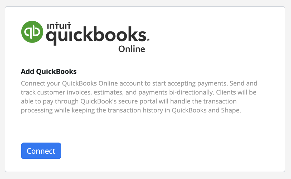 "Step 5:  Navigate to the ""QuickBooks Online"" Integration and press the blue ""Connect"" button."