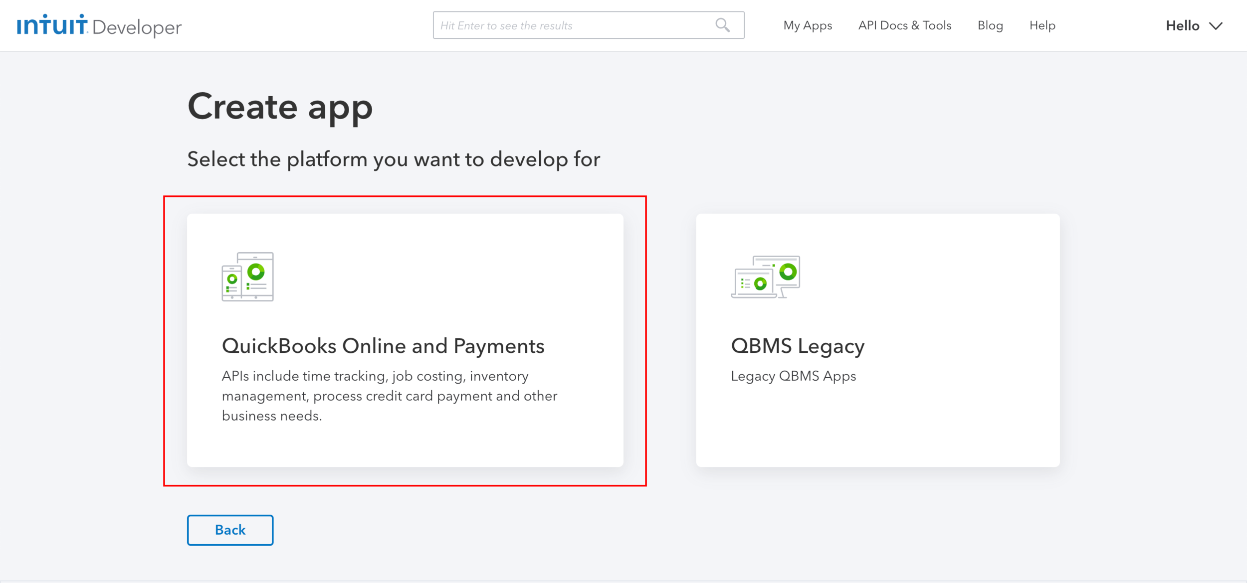 "Step 9:  Choose the ""QuickBooks Online and Payments"" option."