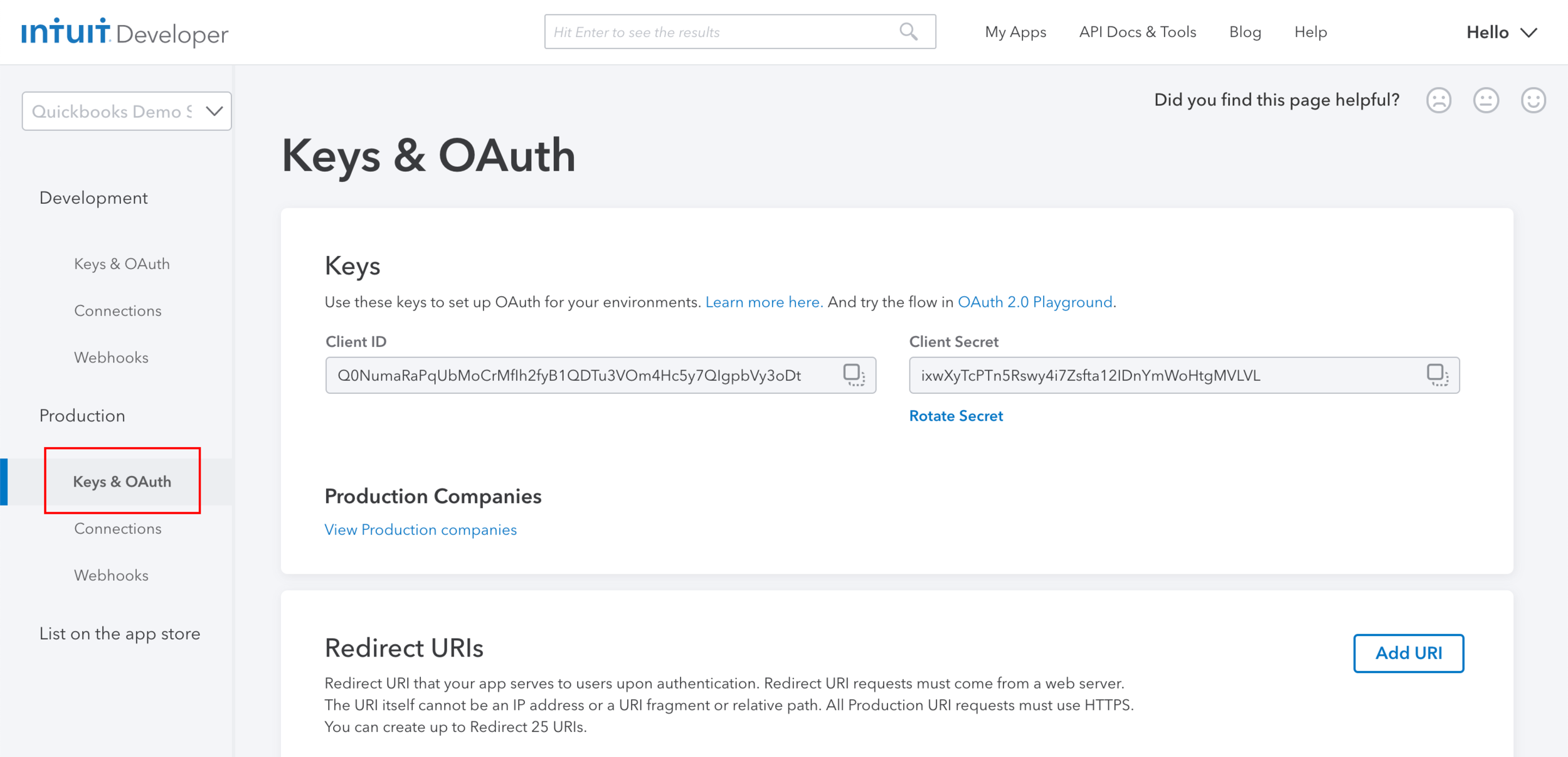 "Step 12:  Once you successfully create the new app, click on ""Keys & OAuth"" under the ""Production"" section on the left hand side."