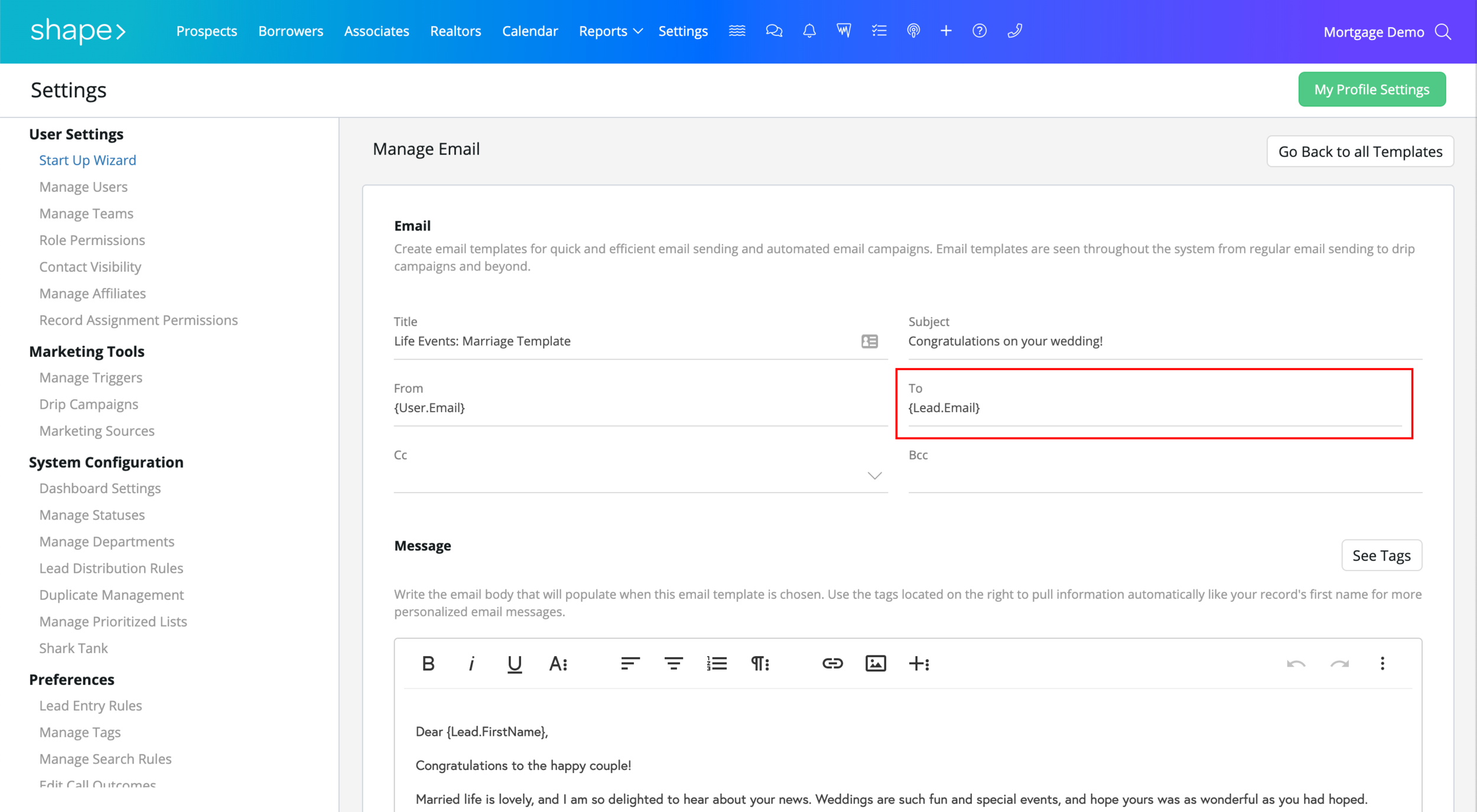 """Adding & Editing Email Templates:  The """"From"""" and """"To"""" fields will automatically populate with and to send from the assigned user or initiating user to send to the record type's detected email address. This also supports a specific email addresses as well (note, this message will ALWAYS send to the specific email if inputted). To send to a specific assigned user (as in the case of notifying a user or a related contact) then use the """"See Tags"""" button below to find the variable recipient option of your choosing or click on the dropdown arrow to discover more options."""