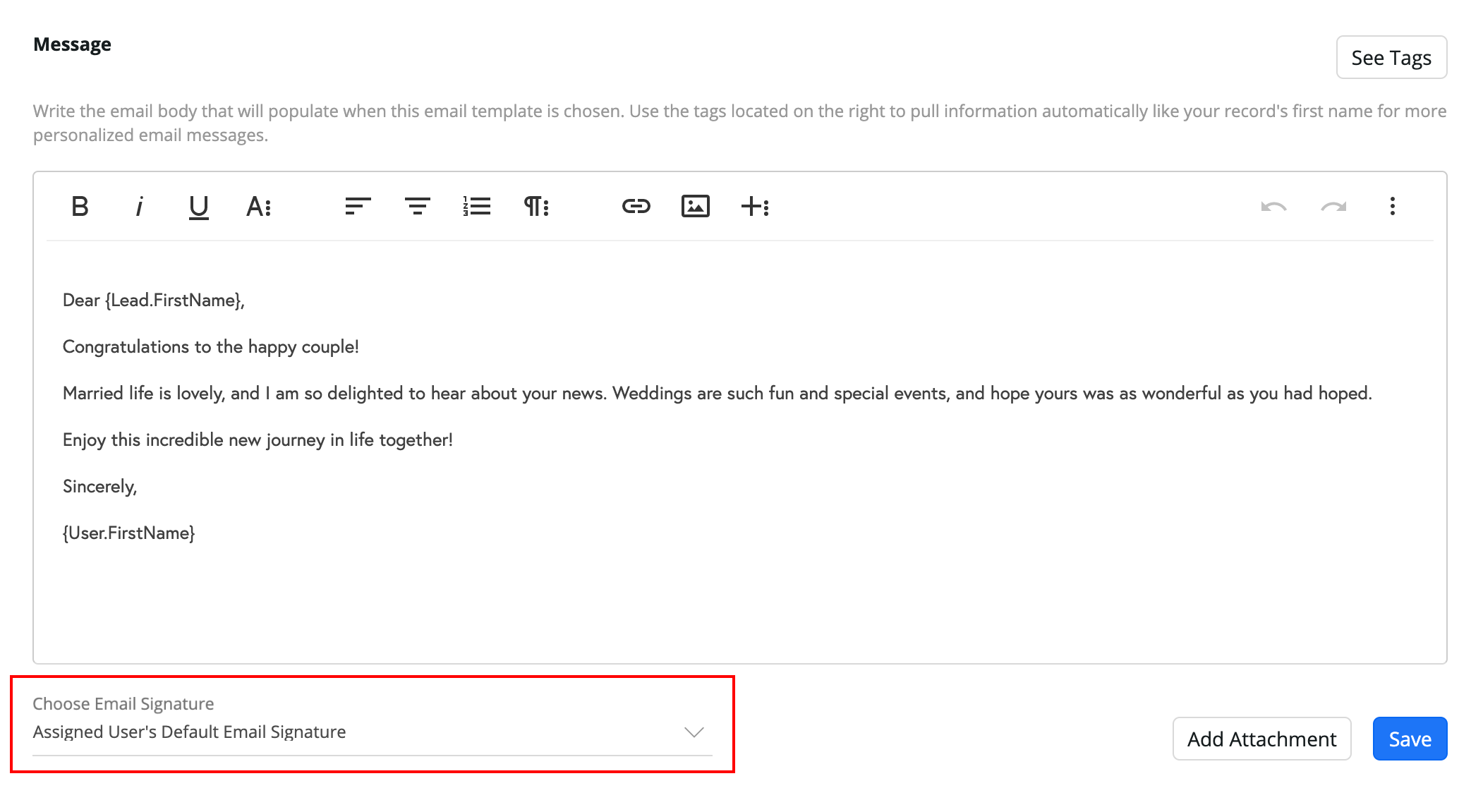 Email Signatures:  Choose the email signature option down below the message formatting area. This will auto-append the selected email signature as selected here.