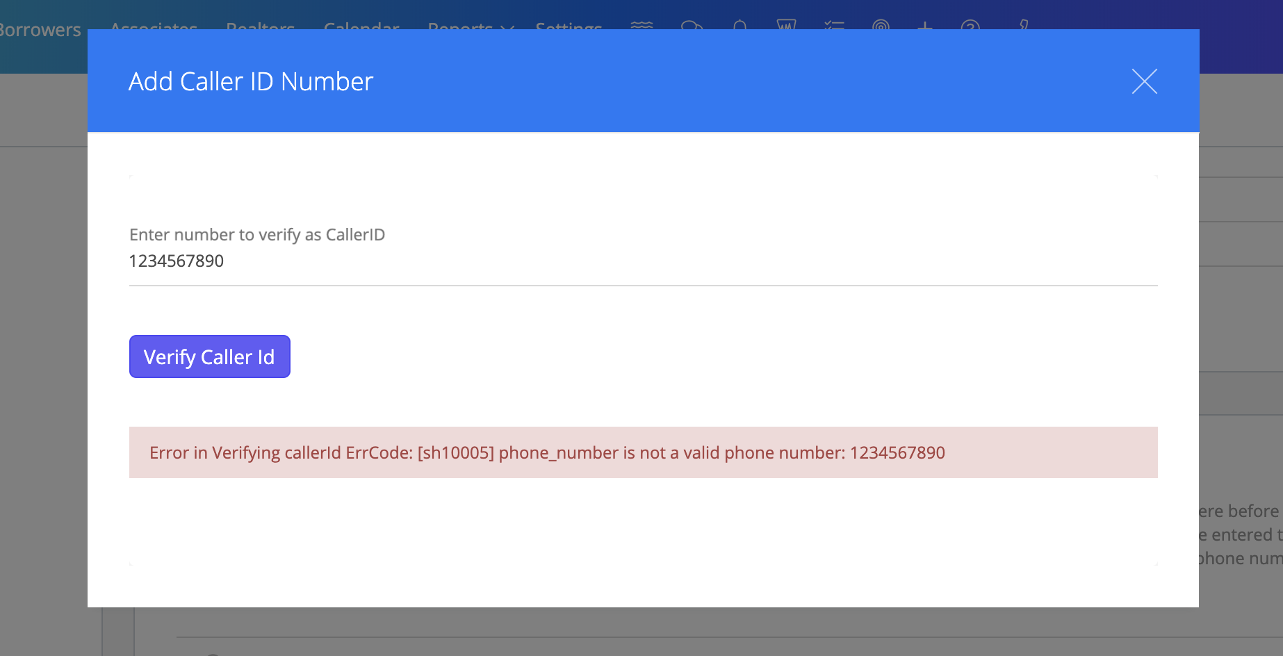 Note:   You must use a valid phone number to verify. You will get an error message if the phone number is invalid.