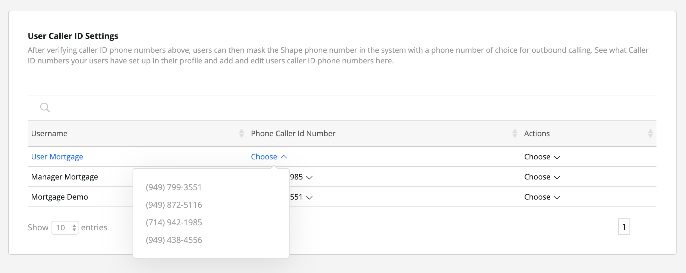 Step 9:  After verifying caller ID phone numbers above, choose what phone numbers your users are using for outbound caller ID.