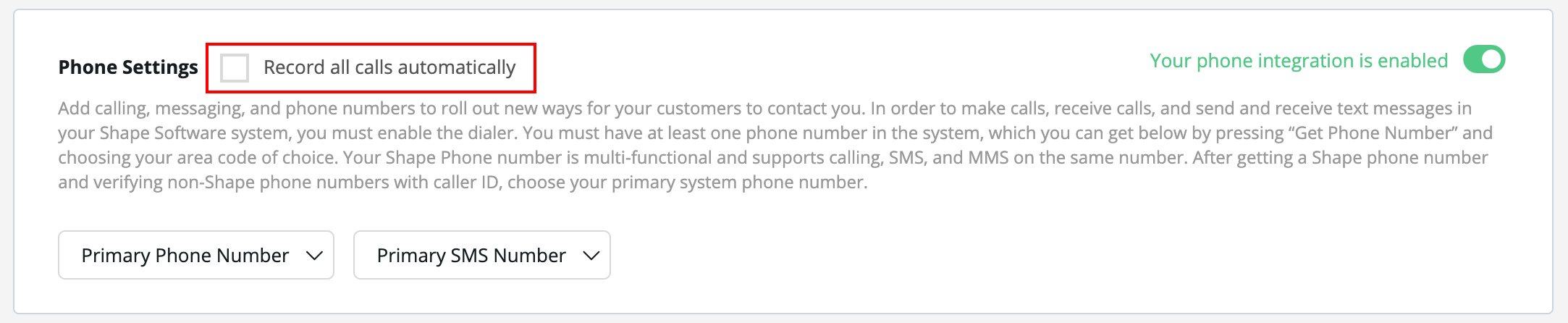 Recording Options:  On the popup, users can choose to start recording calls. However, if you choose to record all calls automatically, please select this check mark in the call settings. Please see disclaimers below regarding call recording.