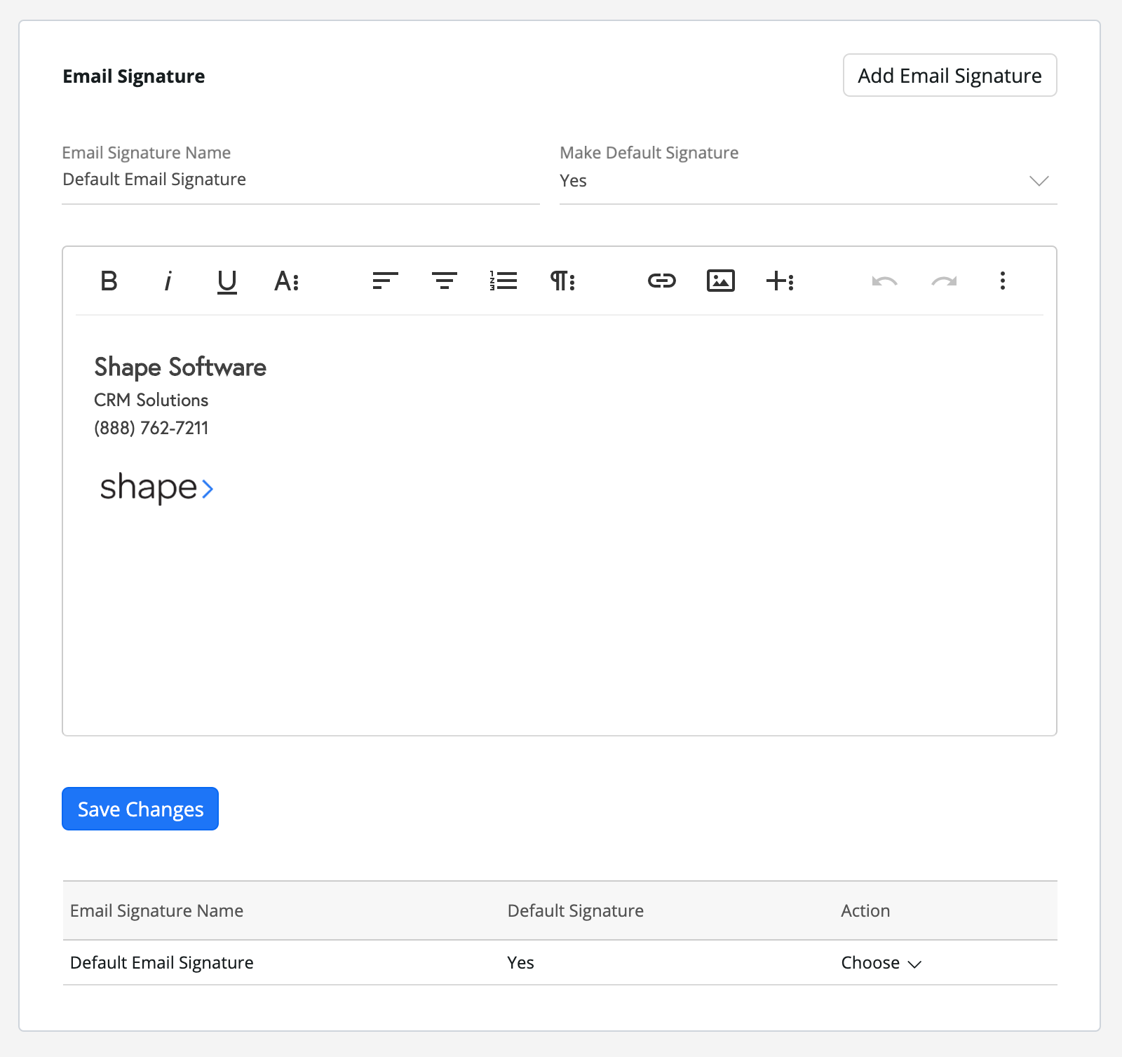Create one or multiple email signatures. Make sure to make one the default email signature.
