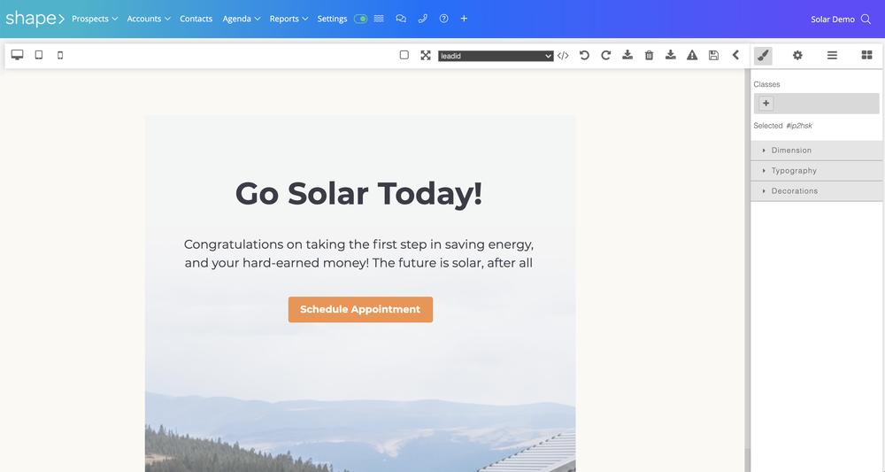 email templates Shape Solar CRM