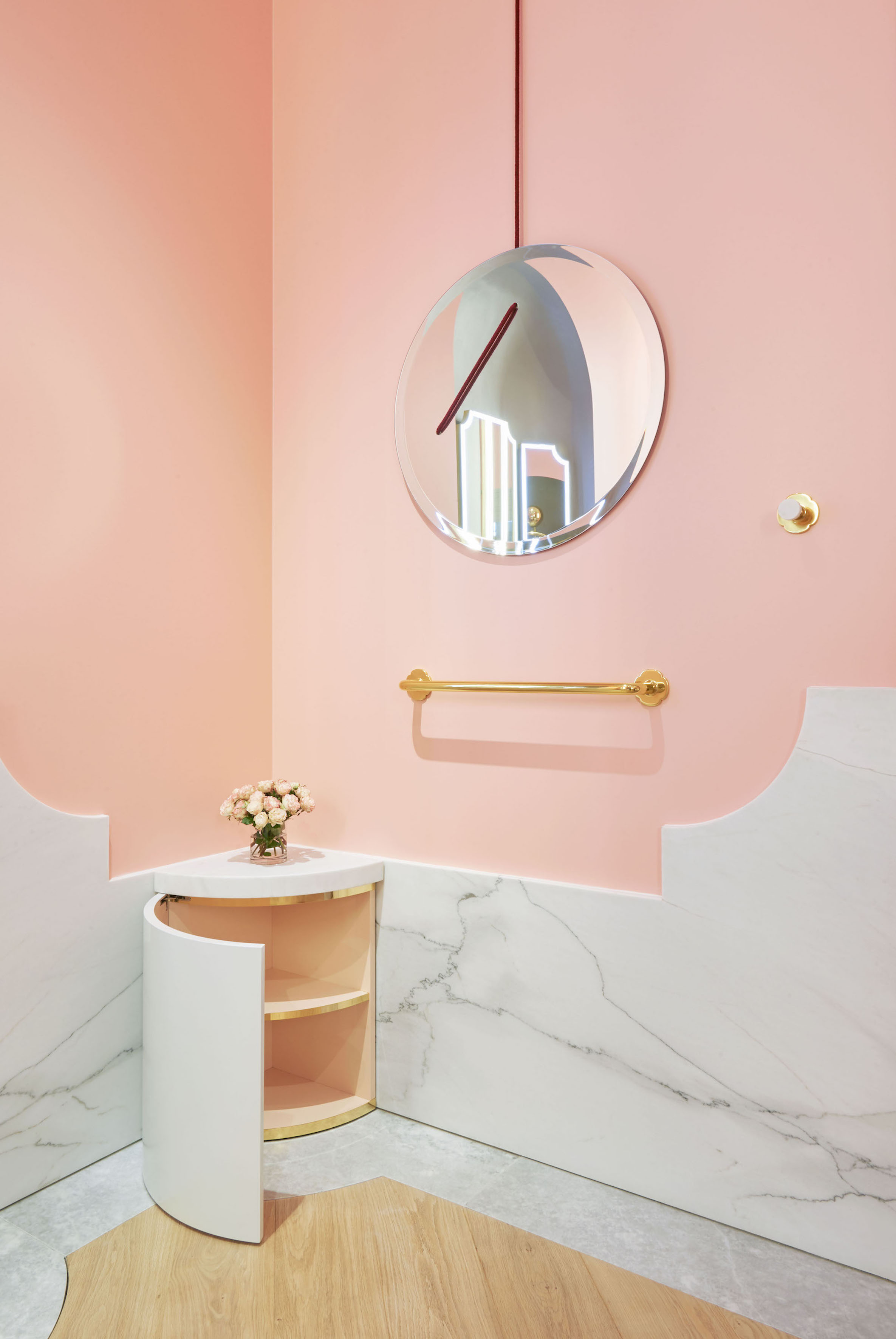 Corner unit, robe hook & towel rail - in lacquered wood, brass and marble*round mirror by Marie Beltrami