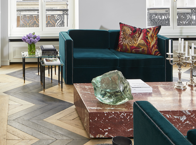 Sofa & coffee table - in mohair velvet & Languedoc red marble