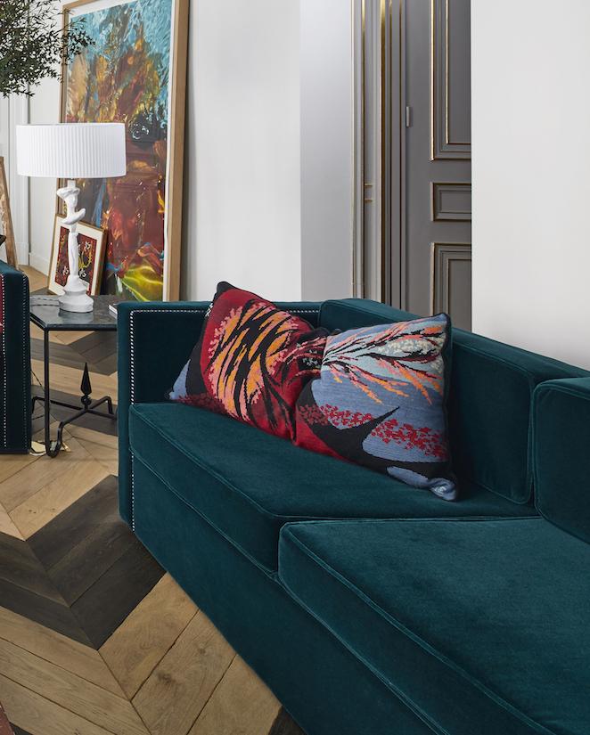 Custom-made sofa - in mohair velvet and studs