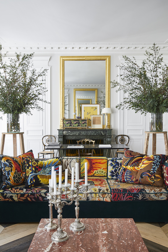 Sofa & cushions - in embroidered tapestries
