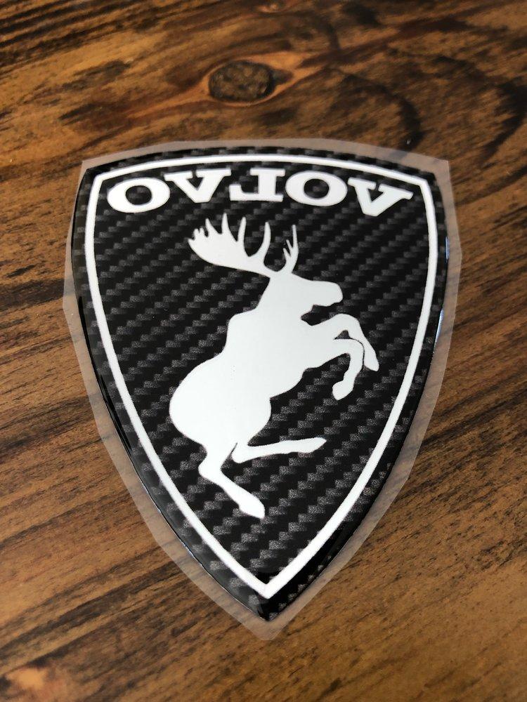 "GENUINE Prancing Moose VOLVO 3"" Carbon Fiber Poly Gel Dome Decal Adhesive"