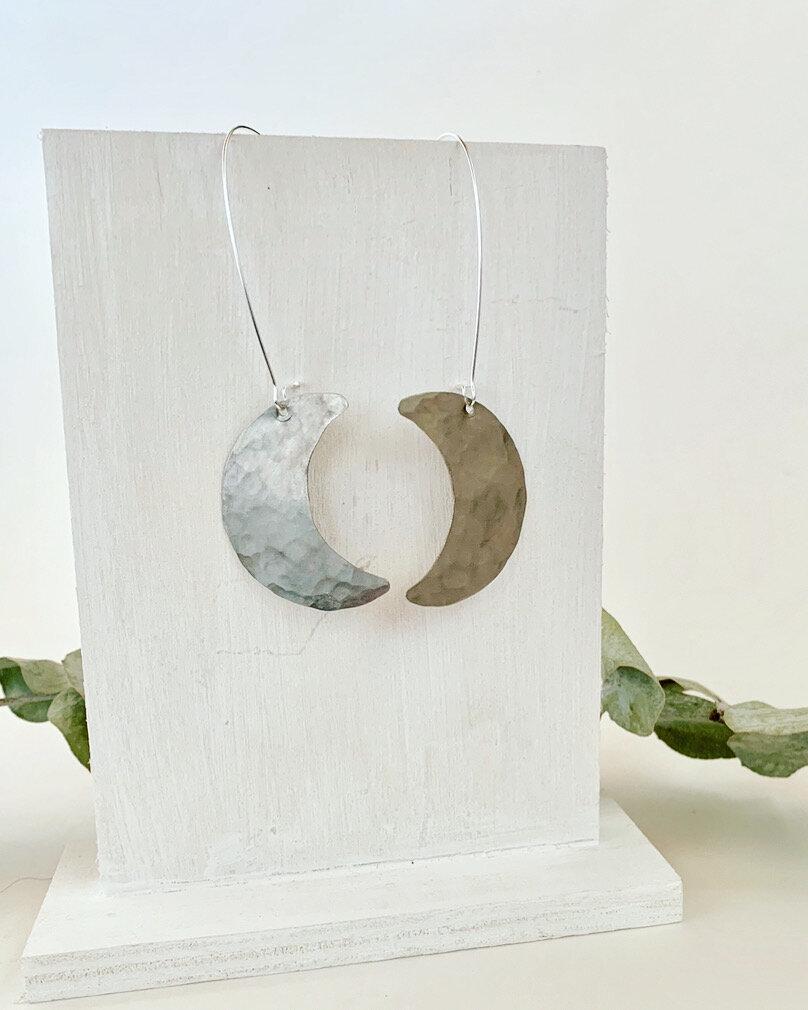 Medium half moon succulent earrings