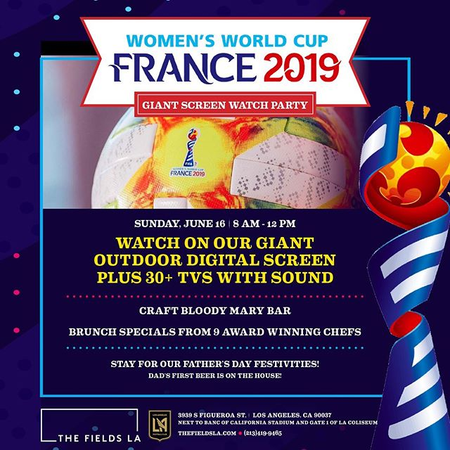 Let's Go Team #USA! 💙❤️ Join us this Sunday as we stream the #WomensWorldCup on our GIANT Outdoor Digital Screen PLUS 30+ TVs with sound! Stay for #FathersDay Festivities after the game!