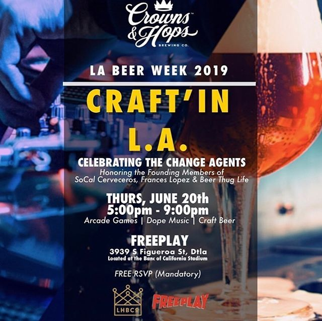 We're keeping #LABeerWeek going with our Craft'In L.A. Beer Event with @crownsandhops on Thursday, June 20th 🍻 We'll be tapping some delicious beers from the East Coast and more! SLIDE LEFT FOR THE TAP LIST ⬅️ RSVP at @crownsandhops 🍺