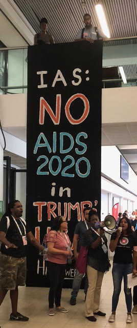 Demonstration: some thought the 2020 conference should not be held in San Francisco because the Trump administration is not HIV-friendly.