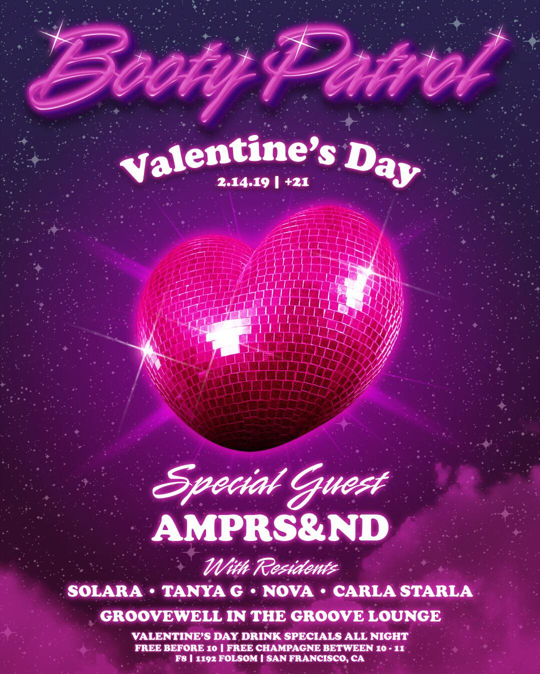 Booty Patrol w/AMPRS&ND & GROOVEWELL - Thursday Feb. 14 @ 9pmFREE Champagne 10-11pm