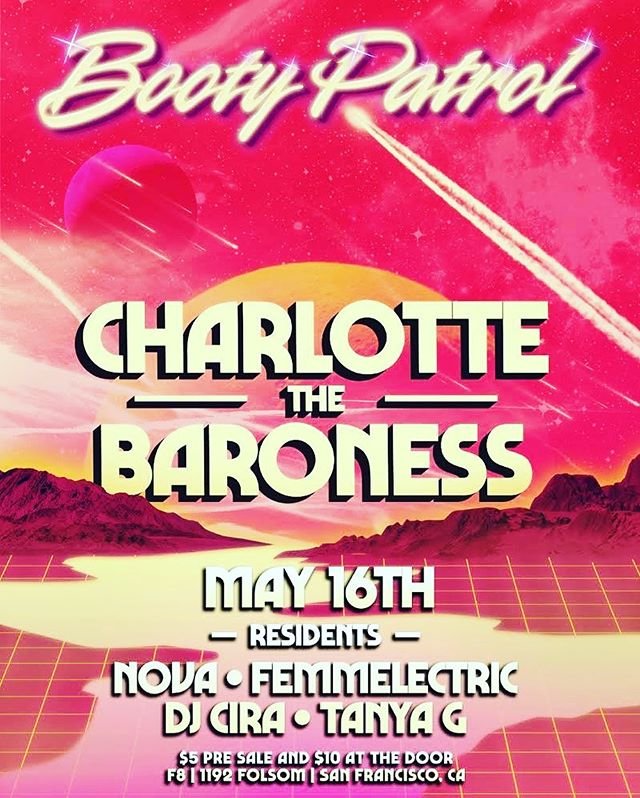 Next Thursday I'm back with Booty Patrol and our very special guest is Charlotte the Baroness! Come dance with us! ⚡️ ⚡️ #bootypatrolsf #charlottethebaroness #sfparties #sfnightlife #pioneerdj #ladjs #nova #electronicmusic #housemusic #f8sf #dancing