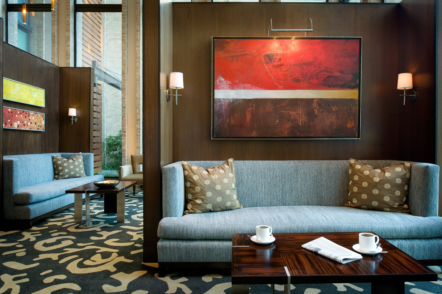 Lounge at Kimpton Hotel in Dallas, boutique hotel, luxury brand hotel, IHG hotels, hotel photography