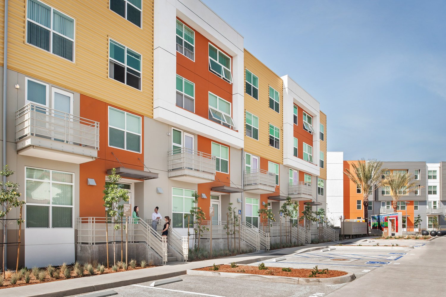 Paseo Comm22 building exterior, san diego affordable housing project, apartments, Hazard Construction